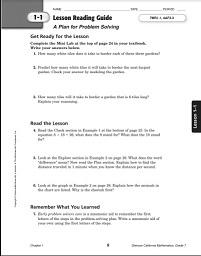 California Mathematics (Concepts Skills Problem Solving) Grade 7 Lesson Reading Guide