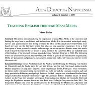 Teaching English Through Mass Media Vol 2 by Vilma Tafani