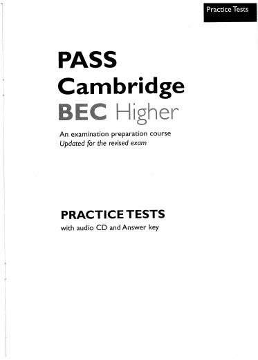 Pass Cambridge BEC Vantage Higher Practice Tests