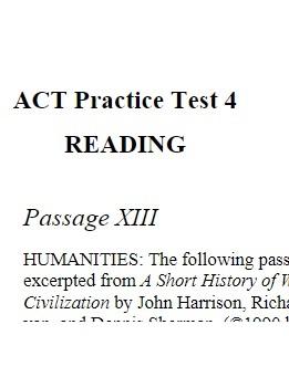 ACT Practice Test 4 Reading
